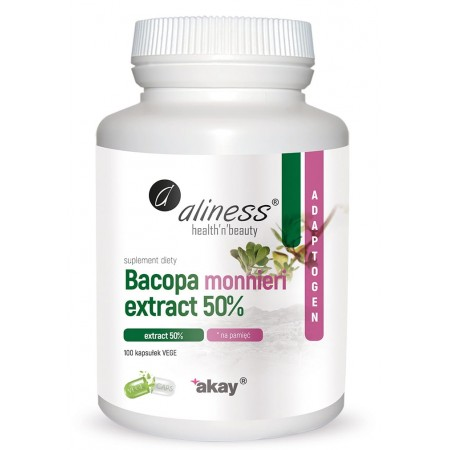 Aliness Bacopa monnieri extract 50%, 500 mg x 100 Vege Caps.