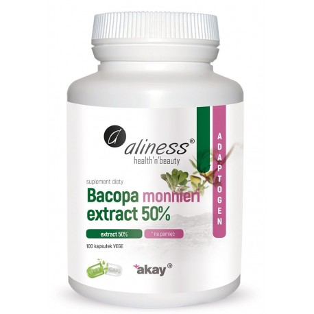 Aliness Bacopa monnieri extract 50%, 500 mg x 100 Vege Caps.