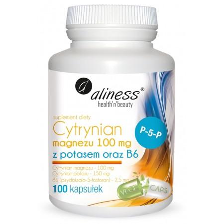 Aliness Cytrynian Magnezu 100 mg z potasem 150 mg 100 vege caps.