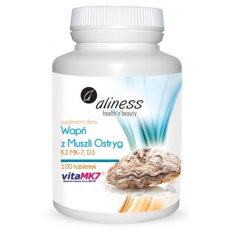 Aliness Wapń z muszli ostryg z K2 MK7 i D3 - 100 tabletek