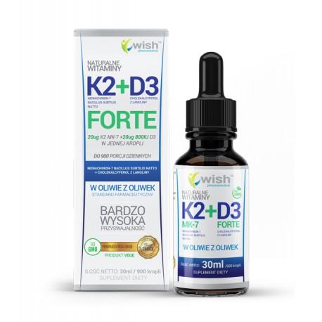 WISH WITAMINA K2 MK-7 + D3 FORTE 30 ml 900 kropli