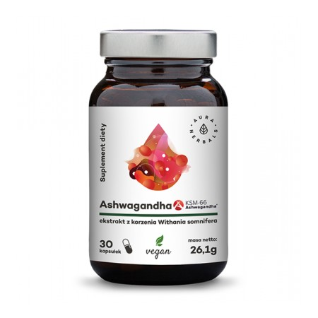 Aura Herbals Ashwagandha KSM-66 korzeń 500 mg - 30 kapsułek wegańskich