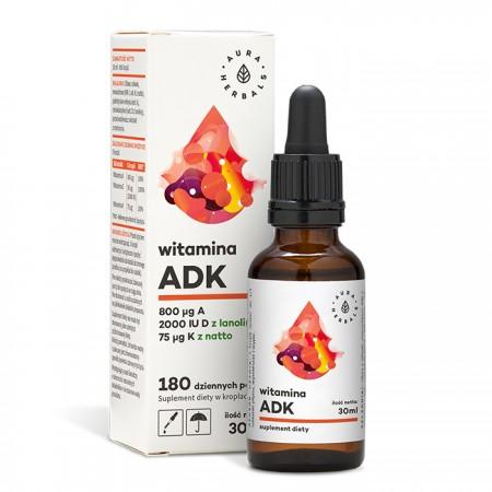 Aura Herbals Witamina A + D3 (2000IU) + K2mk7 (ADK) - krople 30ml