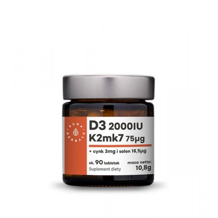 Aura Herbals Witamina D3 (2000IU) + K2mk7 + Cynk + Selen - tabletki (10,8g) - 90 szt.
