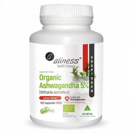 Aliness Organic Ashwagandha 5% 100 caps.