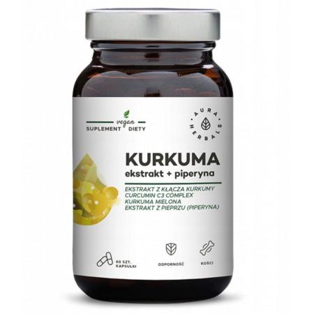 Aura Herbals Kurkuma ekstrakt + piperyna 60 caps.