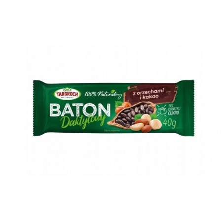 TARGROCH Baton daktylowy z orzechami i kakao 40g