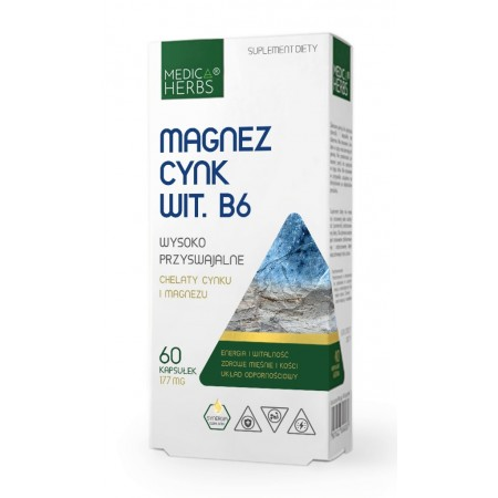 MEDICA HERBS MAGNEZ CYNK + WIT. B6 60 caps.