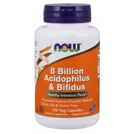 NOW FOODS 8 BILLION ACIDOPHILUS & BIFIDUS 120 vcaps