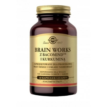 SOLGAR Brain Works z Bacomind i Kurkuminą 60 kapsułek