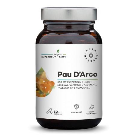 Aura Herbals Pau D'Arco ekstrakt z kory 500 mg 60 kapsułek